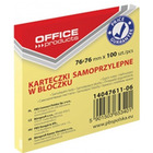 KARTECZKI OFFICE PRODUCTS 76X 76 MM ŻÓŁTE (100)