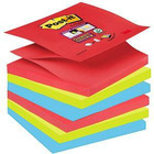BLOCZKI SAMOPRZYLEPNE POST-IT SUPER STICKY Z-NOTES 76 X 76 MM PALETA BORA BORA 6 BLOCZKÓW PO 90 KARTEK